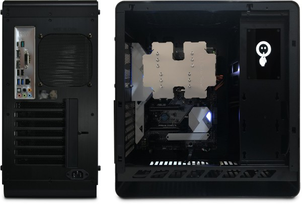 Nofan A890i shown with Silverstone Heligon CPU cooler installed
